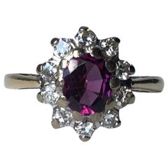 Antique Pink Tourmaline and Diamond 18 Carat Gold Cluster Ring