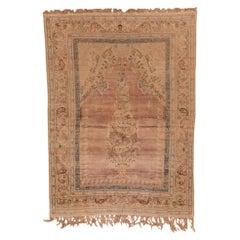 Antique Pink Turkish Kaisary Rug, Formal Palette, Fringes
