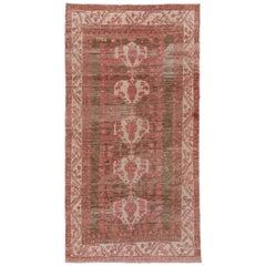 Antique Pink Turkish Kula Long Rug, circa 1930s, Pink and Brown Field