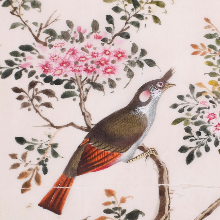 Chinoiserie Antique Pith Painting of Birds For Sale