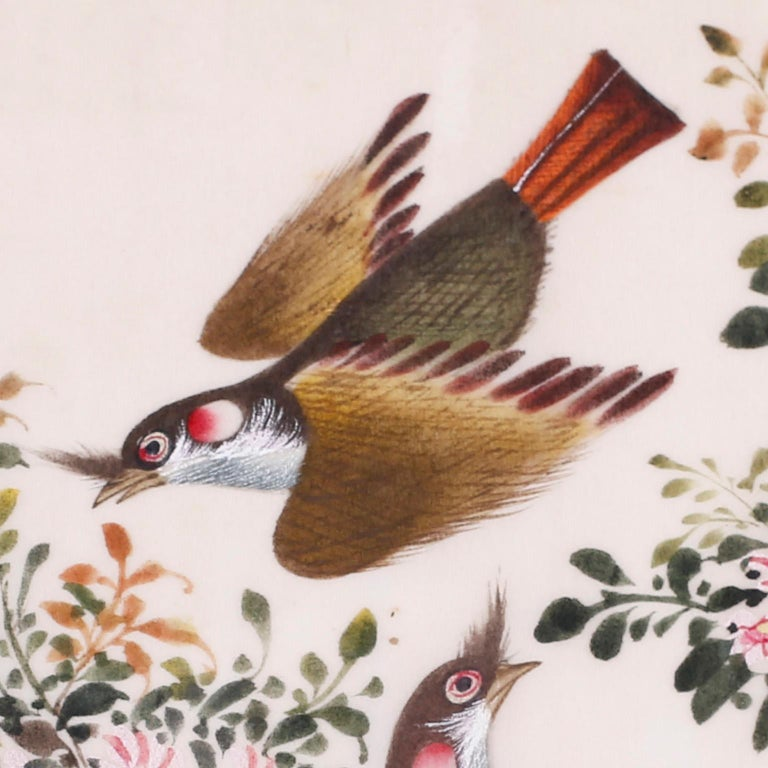 Chinese Antique Pith Painting of Birds For Sale