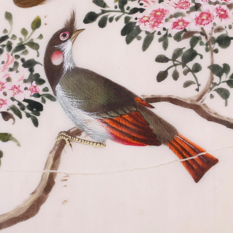 Antique Pith Painting of Birds In Good Condition For Sale In Palm Beach, FL