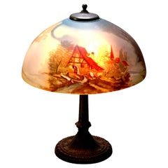 Pittsburgh School Reverse Painted Table Lamp by E. Miller & Co., circa 1920
