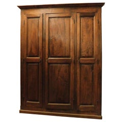 Antique Placard, Brown Poplar Wardrobe with Three Doors, 19th Century Italy