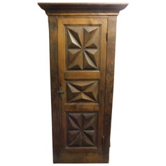 Antique Placard, Diamond Carved Wall Cupboard, Walnut with Frame, 1700, Italy