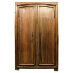 Antique Placard Door, Wall Cabinet in Brown Walnut Wood, 18th Century, Italy