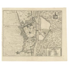 Antique Plan of the City of Szczecin by Merian '1652'
