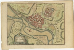 Antique Plan of the Town and Harbour of Boulogne-sur-Mer by Barrow (c.1760)