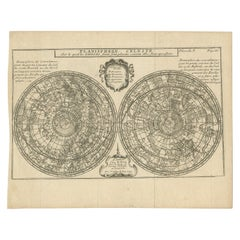 Antique Planisphere with Constellations by Bion, 1751