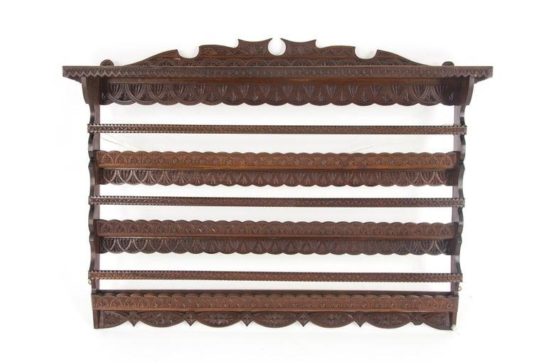Antique Plate Rack, Solid Walnut, Victorian, Chip Carved, Hanging Shelf REDUCED! For Sale 6