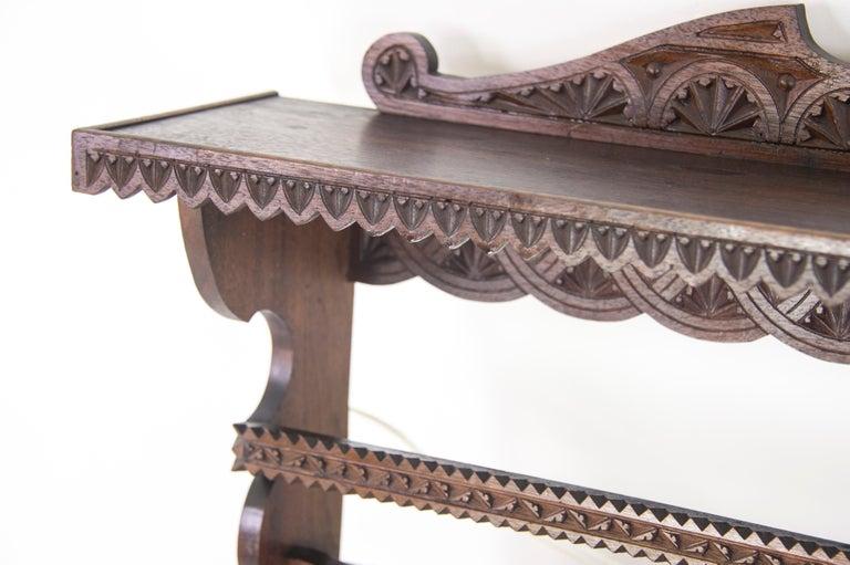 Scottish Antique Plate Rack, Solid Walnut, Victorian, Chip Carved, Hanging Shelf REDUCED! For Sale