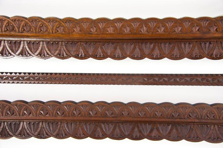 Hand-Crafted Antique Plate Rack, Solid Walnut, Victorian, Chip Carved, Hanging Shelf REDUCED! For Sale