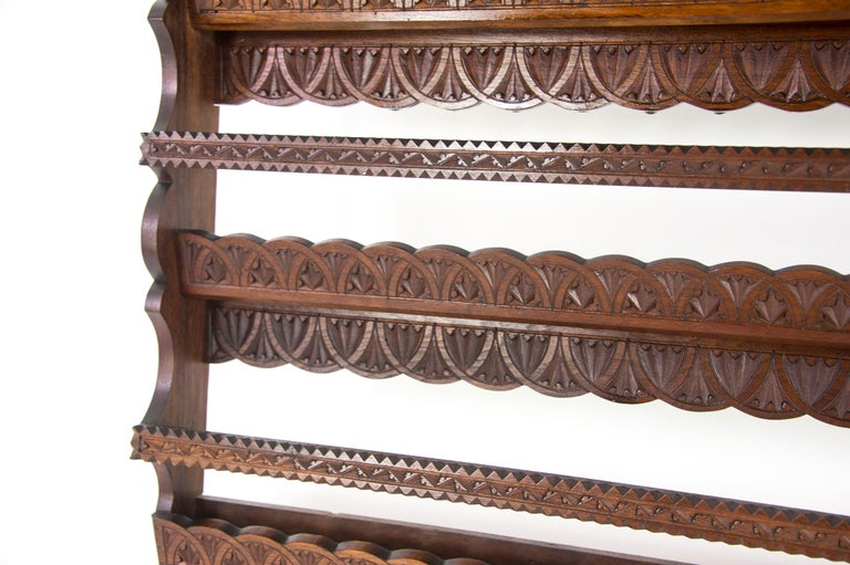 Antique Plate Rack, Solid Walnut, Victorian, Chip Carved, Hanging Shelf REDUCED! In Excellent Condition For Sale In Vancouver, BC