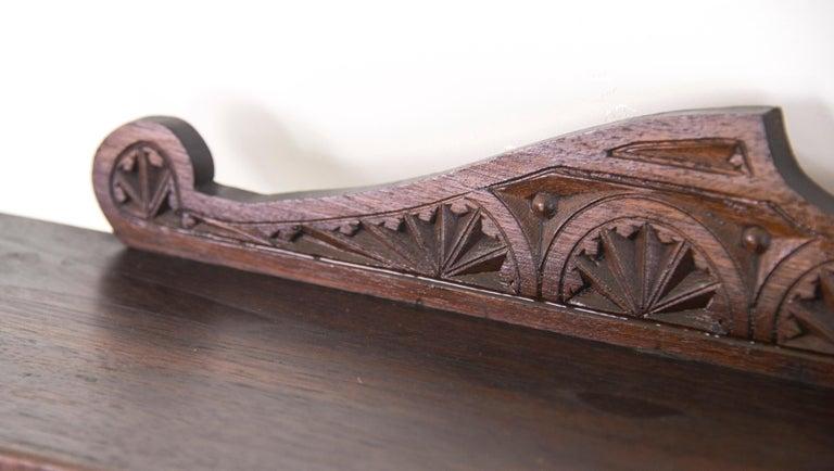 Antique Plate Rack, Solid Walnut, Victorian, Chip Carved, Hanging Shelf REDUCED! For Sale 1