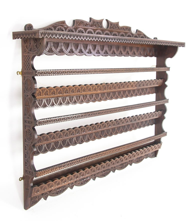 Antique Plate Rack, Solid Walnut, Victorian, Chip Carved, Hanging Shelf REDUCED! For Sale 2