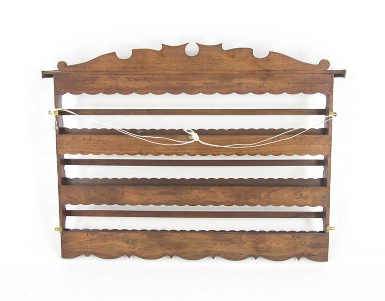Antique Plate Rack, Solid Walnut, Victorian, Chip Carved, Hanging Shelf REDUCED! For Sale 3