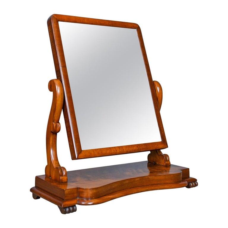 Antique Platform Mirror, Flame Mahogany, English, Victorian, Vanity, circa 1870 For Sale