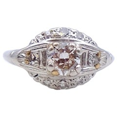 Antique Platinum 0.67 ct K-SI2 Diamond Ring size 5.5