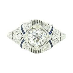 Antique Platinum 1.08ctw GIA European Diamond Solitaire Sapphire Engagement Ring