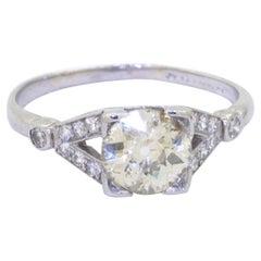 Antique Platinum 1.10CT Diamond Cocktail Ring w/ 0.93CT Center