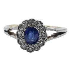 Antique Platinum & 15Ct Yellow Gold Sapphire & Diamond Ring