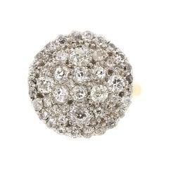 Antique Platinum 18 Karat Gold Diamond Pave Cluster Ring