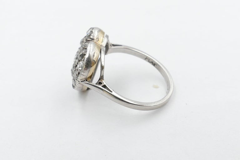 Romantic Antique Platinum and 18 Carat Yellow Gold Heart Shaped Diamond Ring For Sale