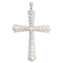 Antique Platinum 6.00 Carat Large Diamond Cross Pendant