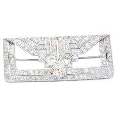 Antique Platinum 6.20cts VS Diamond Geometric Brooch