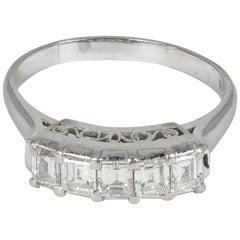 Antique Platinum and 0.8 Carat Emerald Cut Diamond Ring, 1930s