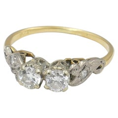 Antique Platinum and 18 Carat and Yellow Gold 2 Diamond Ring