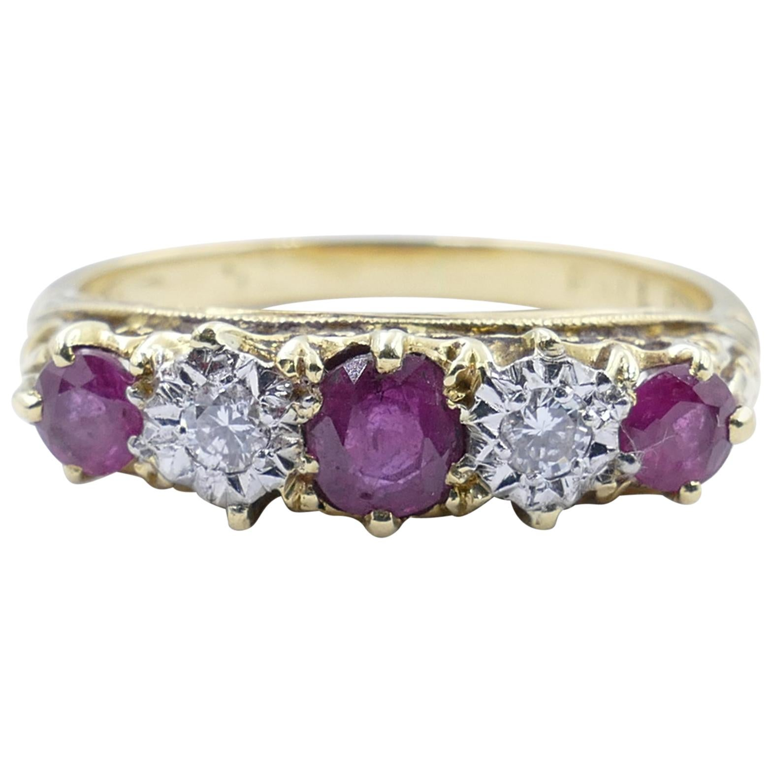 Antique Platinum and 18 Carat Yellow Gold 3 Ruby 2 Diamond Band Eternity Ring