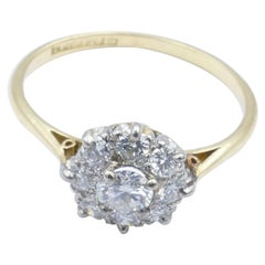 Antique Platinum and 18 Carat Yellow Gold Diamond Dress Ring