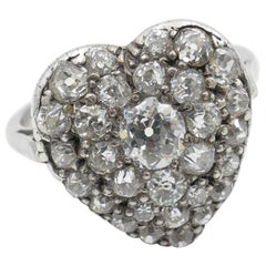 Antique Platinum and 18 Carat Yellow Gold Heart Shaped Diamond Ring
