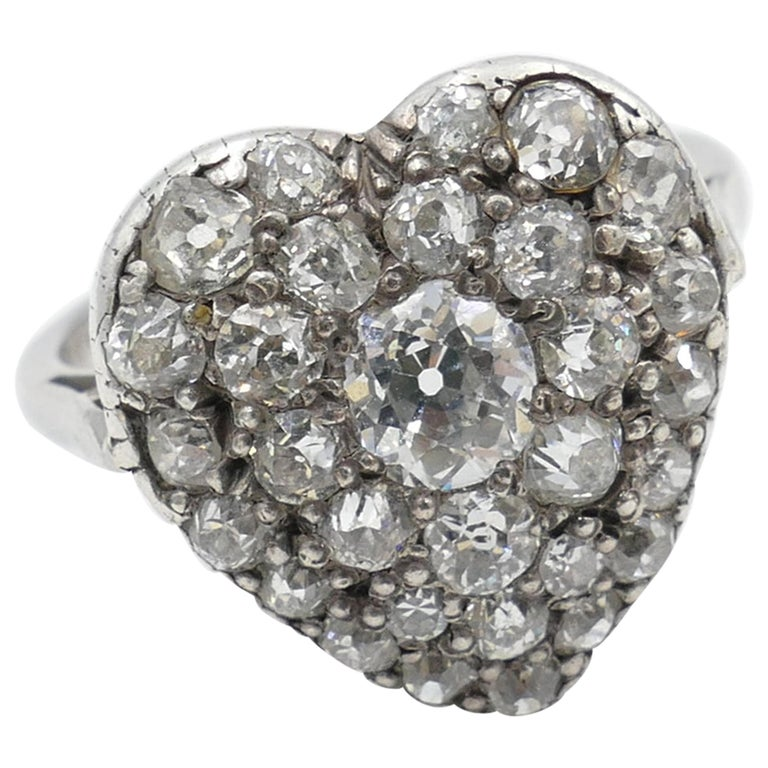 Antique Platinum and 18 Carat Yellow Gold Heart Shaped Diamond Ring For Sale