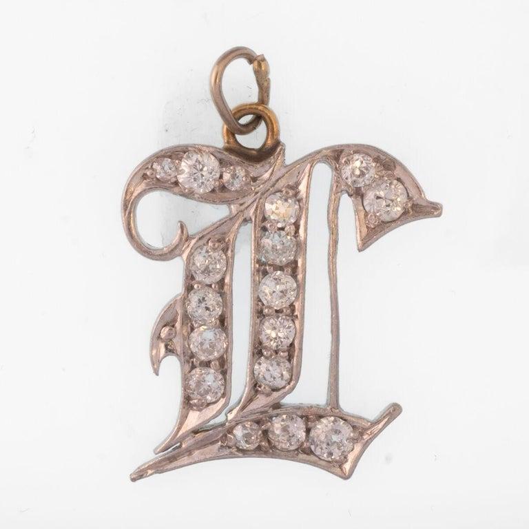 Late Victorian Platinum and 18 Karat Gold and Diamond Monogram Charm c.1900