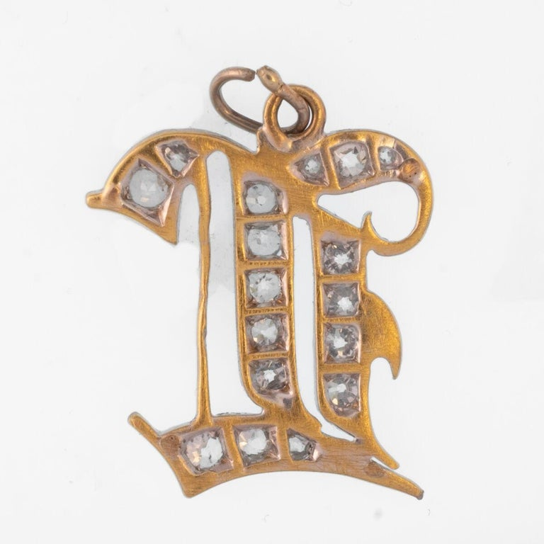 Late Victorian Antique Platinum and 18 Karat Yellow Gold and Diamond Monogram Charm For Sale