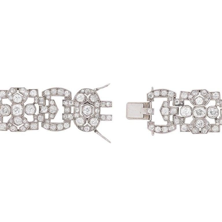 Victorian Antique Platinum and Old Cut Diamond Bracelet, circa 1900s For Sale