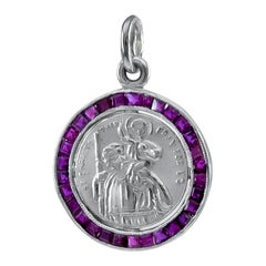 Antique Platinum and Ruby St. Christopher's Medal