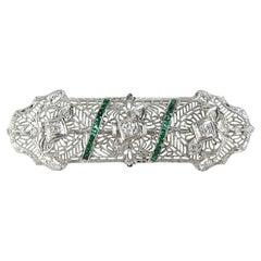 Antique Platinum Art Deco Diamond Brooch Pin 1920s
