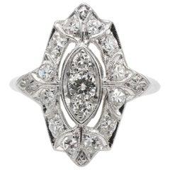 Antique Platinum Art Deco Diamond Navette Ring