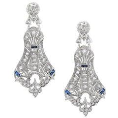 Antique Platinum Art Deco Diamond & Sapphire Earrings with Filigree & Engraving