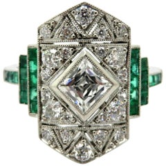 Antique Platinum Art Deco Style French Cut Diamond and Emerald Engagement Ring