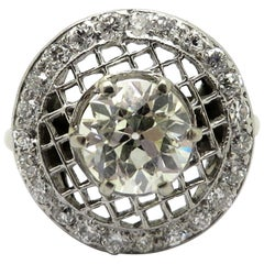 Antique Platinum Art Deco Style Old European Cut Diamond Engagement Ring
