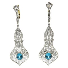Antique Platinum Blue Zircon and Diamond Calla Lily Dangle Flower Earrings