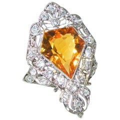 Antique Platinum, Diamond and Citrine Ring.  Circa 1910.