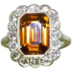 Antique Platinum, Diamond and Cognac Natural Zircon Ring, circa 1915