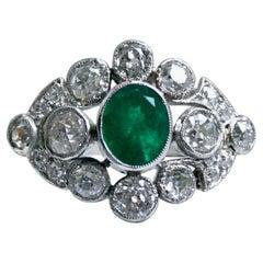 Antique Platinum Diamond and Emerald Ring Engagement Ring, 4.26 Carat