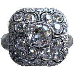 Antique Platinum Diamond Cluster Ring Engagement Ring, 3.88 Carat