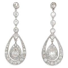 Antique Platinum Diamond Drop Earrings